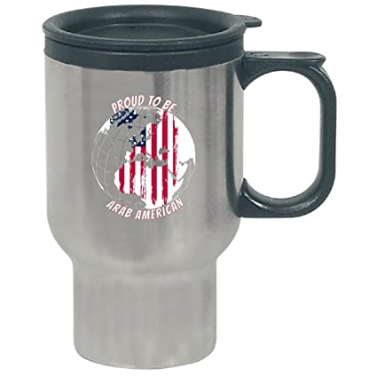 Amazon proud to be an arab american on world map with american proud to be an arab american on world map with american flag travel mug gumiabroncs