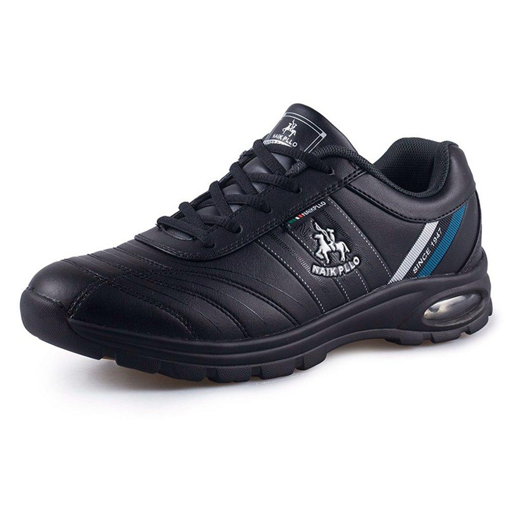 DeLamode Men Air Cushion Increased Sports Shoes Leather Shoelace Travel Badminton Sapato Black-42