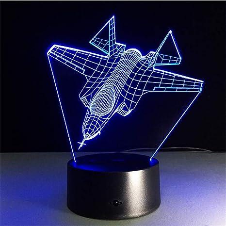 Avión Luz nocturna 3D LED Remoto Táctil Avión Lámpara de mesa ...