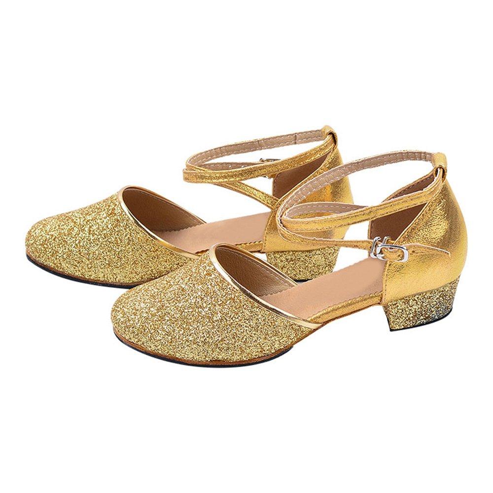 Little//Big Kid OCHENTA Girls Glittering Closed Toe Latin Salsa Ballroom Dance Shoes Party Pumps