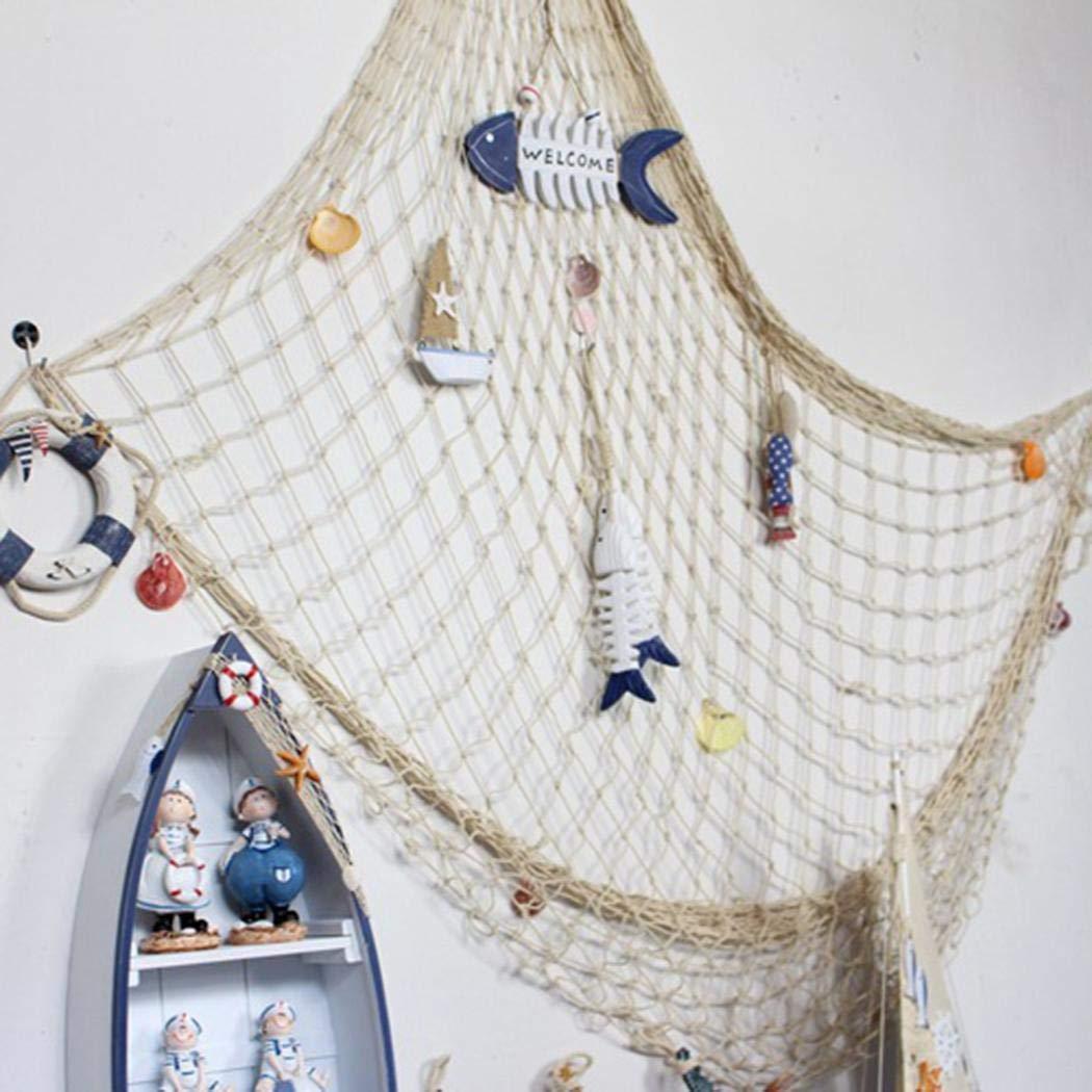 pagacat Rete da Pesca Decorativa del Fondo Creativo di Stile mediterraneo Soprammobili