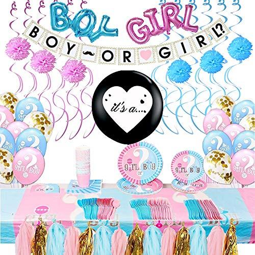 Gender Reveal Party Supplies Kit | Gender Reveal Decorations For Party | Baby Reveal Party Supplies | Decorations & Supplies For Gender Reveal Party | Boy Or Girl Gender Reveal Party Supplies 264 Pc