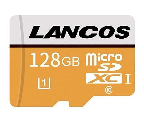 LANCOS - Tarjeta de Memoria microSDXC UHS-I de 128 GB, Clase 10, con Adaptador SD