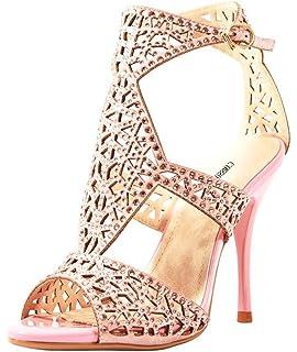 b4bdb5e610892 CAMSSOO Women s Ankle Strap Heels Sandals Peep Toe Stiletto Pumps Party  Dress Shoes