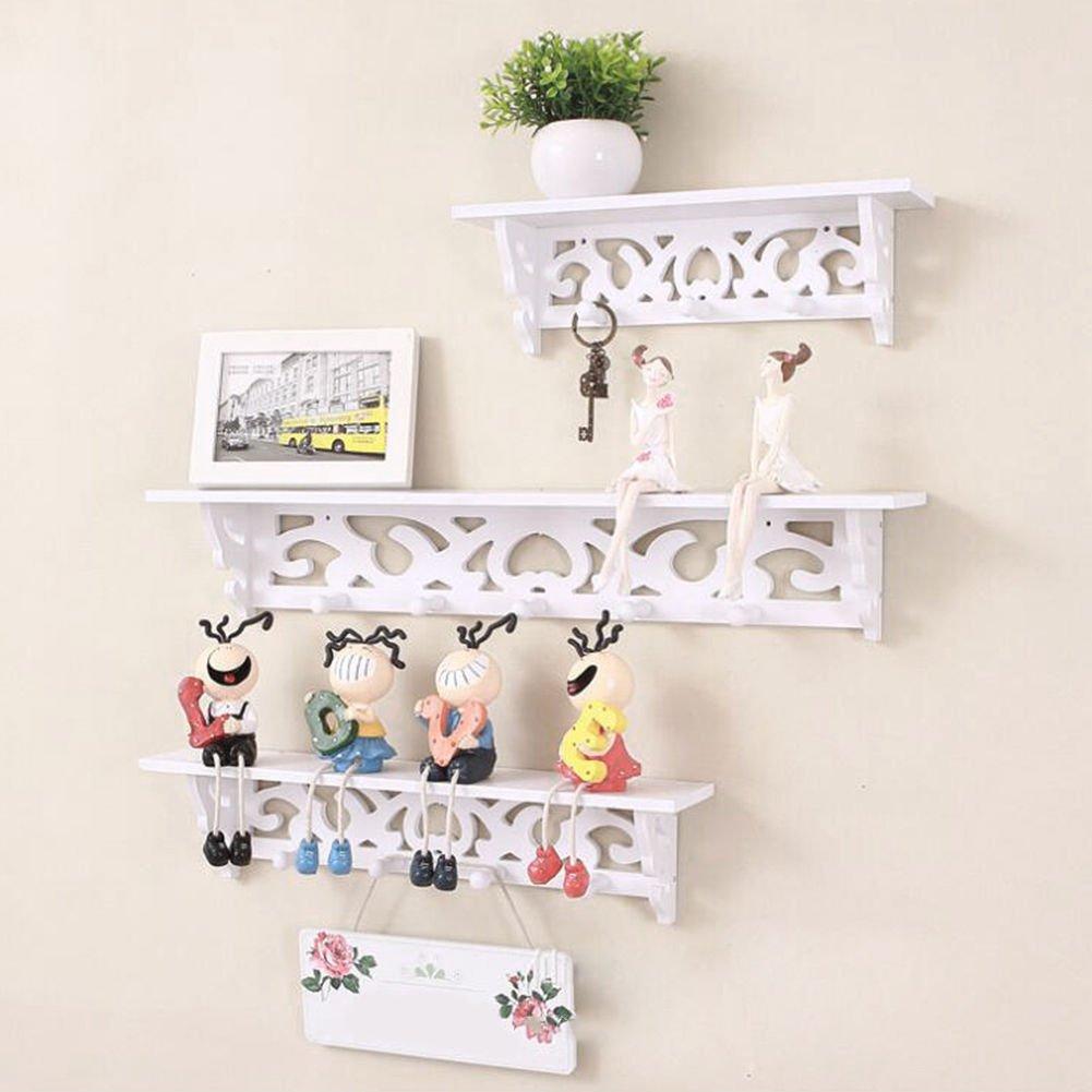 OKOKMALL US--Floating Wall Shelves Set Ledge Hanging Mounted Storage Shelf Display S M L