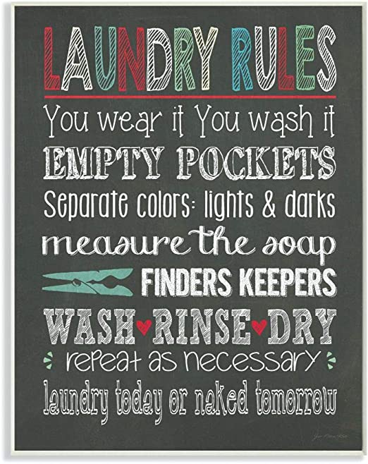 Proudly Made in USA 10 x 0.5 x 15 Stupell Home D/écor Family Rules Chalkboard Style Wall Plaque