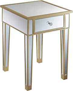 Convenience Concepts Gold Coast Mirrored End Table with Drawer, Champagne / Mirror
