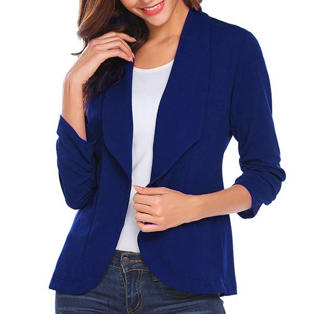HHei_K Womens Lounge Plain Turn-Down Collar Neck Ruched Three Quarter 3/4 Sleeve Blazer Elegant Slim Suit Coat