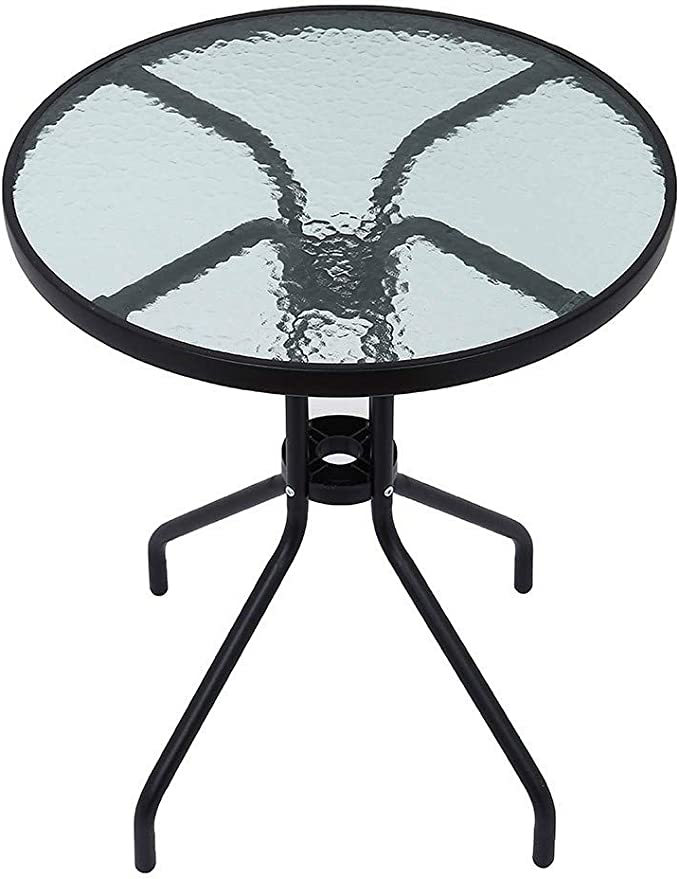 round outdoor patio table 24in tempered