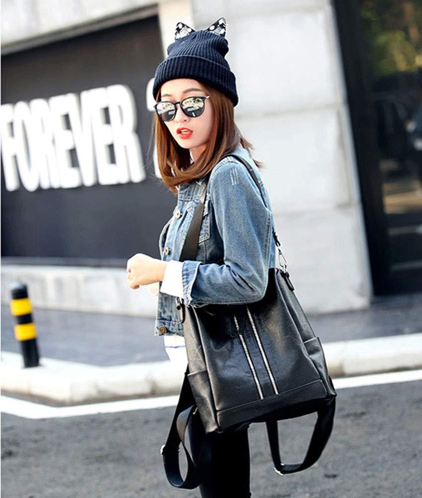 XJBHD Ladies Fashion PU Leather Backpack Rucksack Shoulder Bag Color : Black, Size : Large
