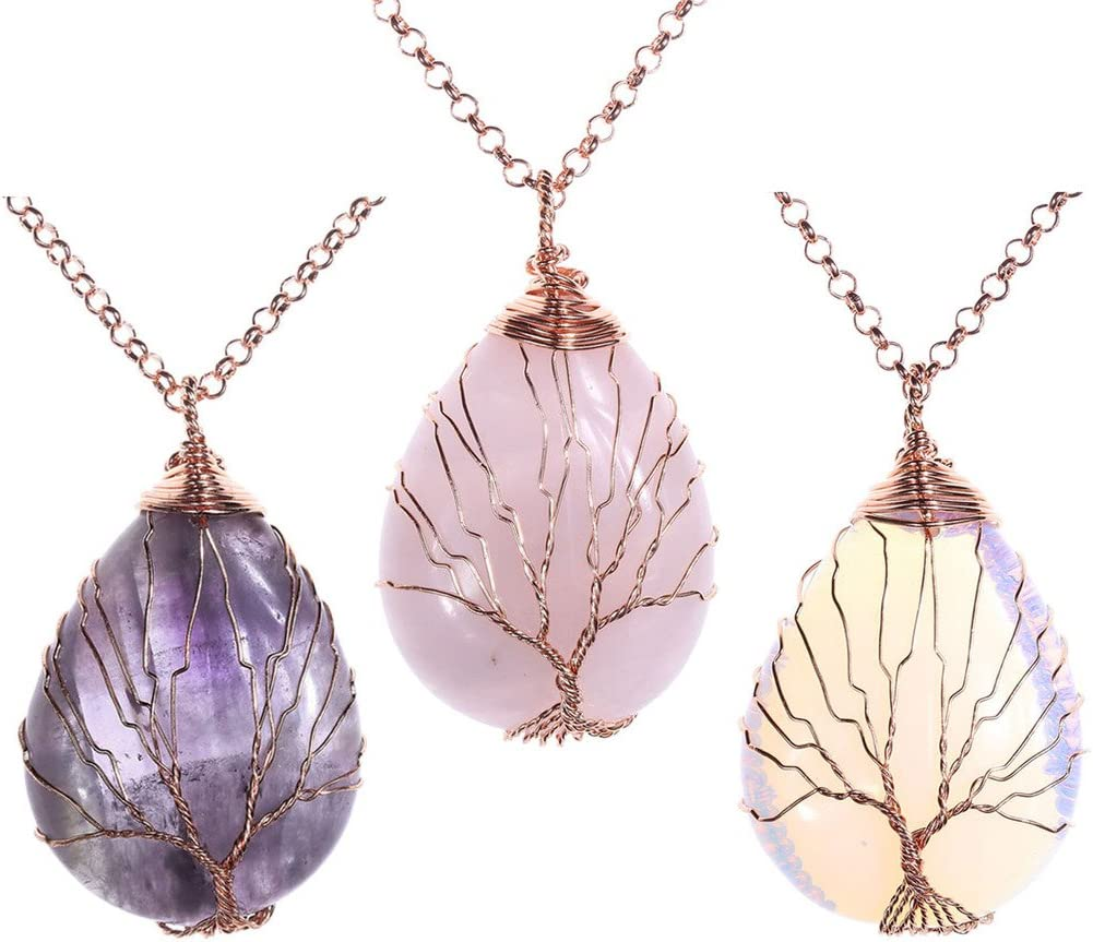 Womens Pendant Necklace New Antique Flower Wire Wrap Geometry Pink Quartz Natural Stone Pendant for Necklace Choker Retail DIY Jewelry