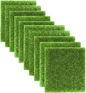 10 Pcs Micro landscape creativity simulation bryophyte Eco Moss Green Plants Grass Artificial Garden Grass Moss DIY Synthetic Miniature Fairy Garden Decor Grass Plant Poted Decoration,5.9x5.9 inch