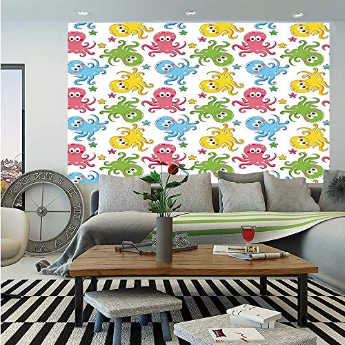 Framed Chipper - SoSung Octopus Huge Photo Wall Mural,Cheerful Chipper Animals in The Ocean with Starfishes Children Nautical Cartoon Decorative,Self-Adhesive Large Wallpaper for Home Decor 108x152 inches,Multicolor