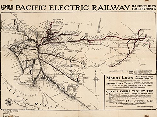 Railway Electric Map Pacific (Map Poster - Pacific Electric Railway In Southern California - 24