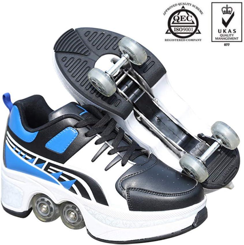 YZJYB Patín En Línea Deformación Zapatos Parkour Multifuncionales 2 En 1 Zapatillas para Skateboard Ajustable Skating Outdoor Zapatos Deportivos para Unisex Regalo Principiantes: Amazon.es: Deportes y aire libre