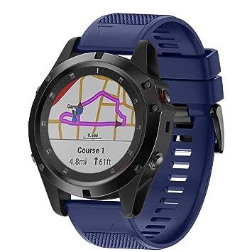 Crewell - Correa de Reloj de Silicona Suave para Garmin Fenix 5X Plus Smartwatch, Color Azul Oscuro