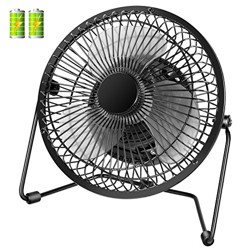 COMLIFE 7.5 inch Battery Operated or USB Powered Desk Fan, Metal Desktop Personal Fan with 4400mAh Rechargeable Batteries, 2 Speeds and Low Noise, Portable Cooling Fan for Home, Office or Outdoor Use by COMLIFE