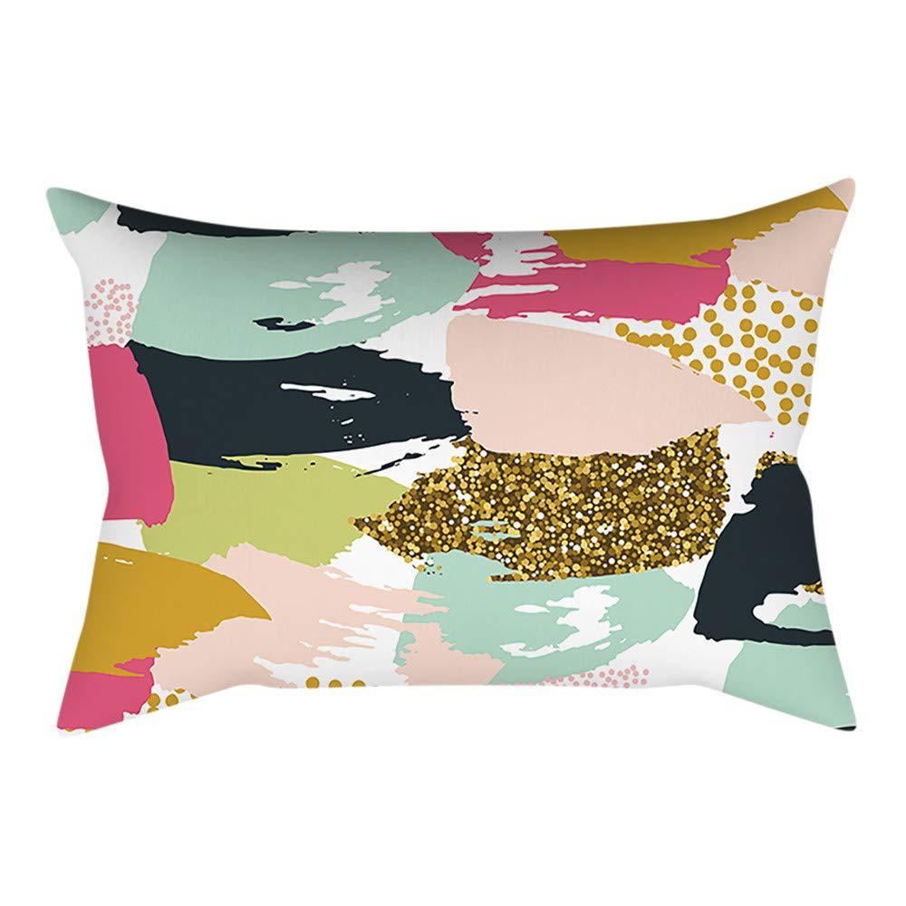Pgojuni Rectangle Merry Christmas Pillow Case Sofa Waist Linen Blend Pillow Cover Cushion Cover Home Decor 1pc 30cmx50cm (C)