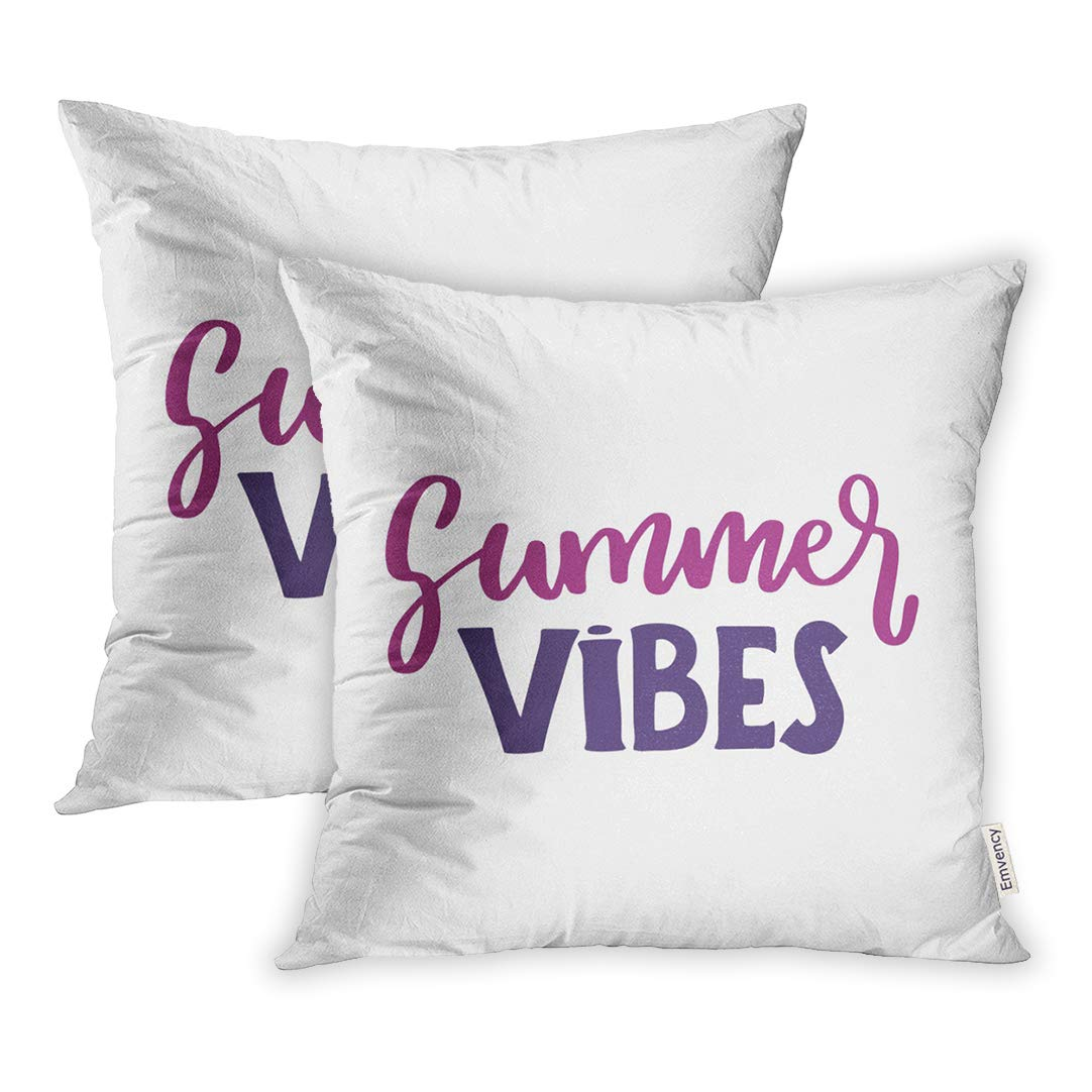 Amazon.com: Emvency Throw Pillow Covers Blue Script Summer ...