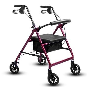 Gravity Andador con Ruedas Plegable Ultraligero para Caminar con Frenos, Asiento, Silla De Ruedas para Ancianos,Red: Amazon.es: Hogar