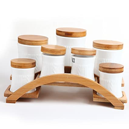 b577bf5d6dd5b Ceramic Tea Coffee Sugar Spice Set of 7 Canisters Jars with Bamboo Base  JC7082 (JC7082)  Amazon.co.uk  Kitchen   Home