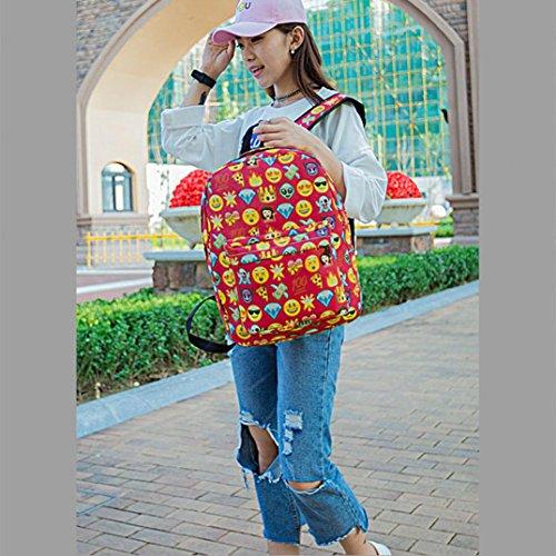 Bolsos de Escuela de Mochila Emoji de Cremallera Muchacho Adolescente de Mujeres Bolso de Hombro de Manera por ESAILQ Rojo