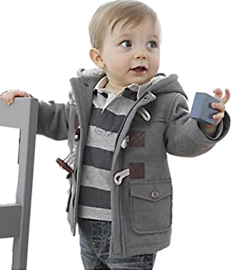 19451939e Amazon.com  Baby Boys Toddlers Cotton Blend Hooded Duffle Coat ...