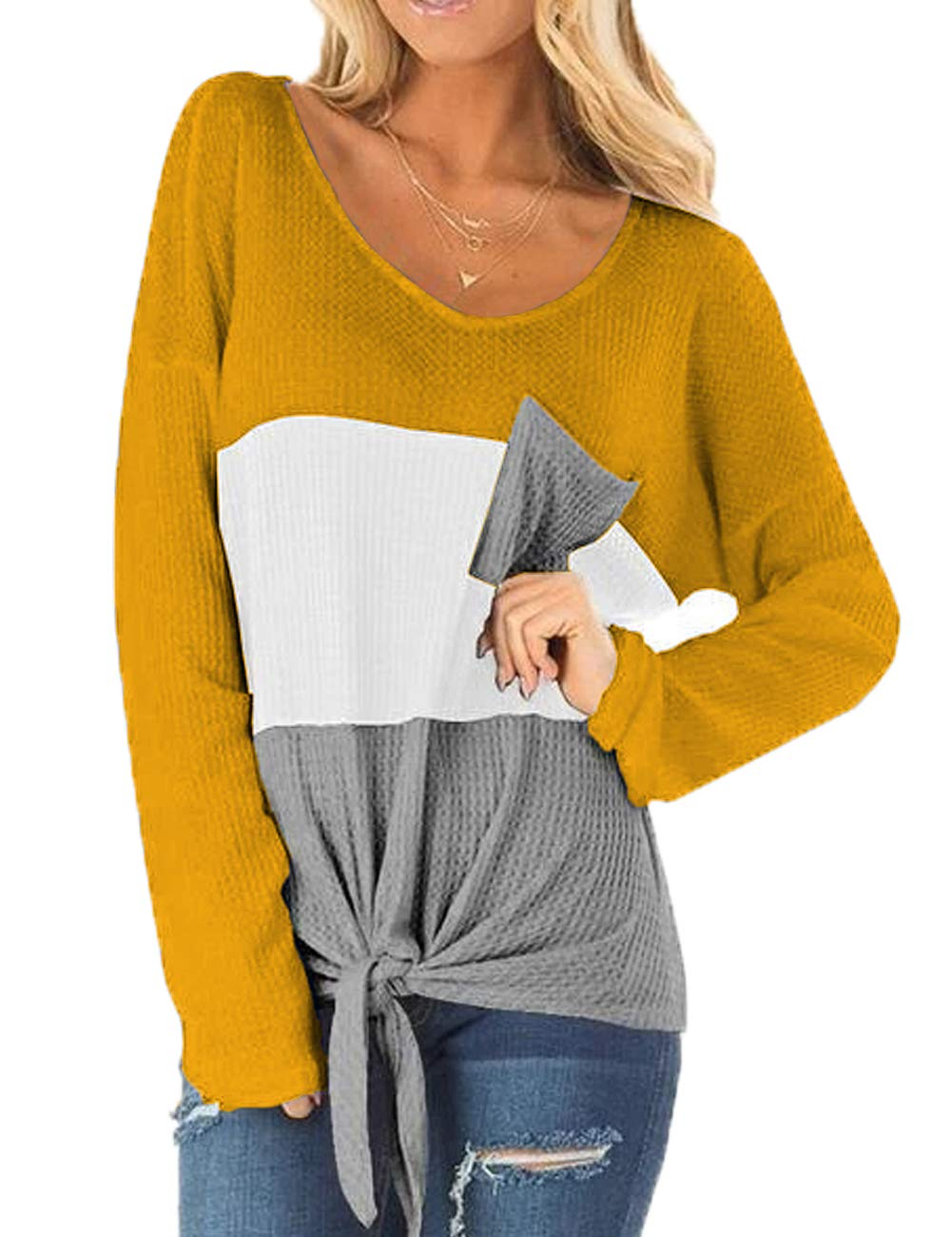 Ido4U Womens Waffle Knit Tunic Blouses Color Block T Shirts Tie Knot Casual Long Sleeve Henley Tops (L,Yellow)