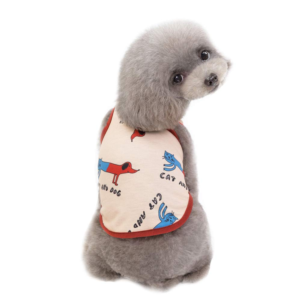 callm Puppy Pet Small Dog Clothes Print Cat&Dog Waistcoat Shirt Wear in Spring Summer