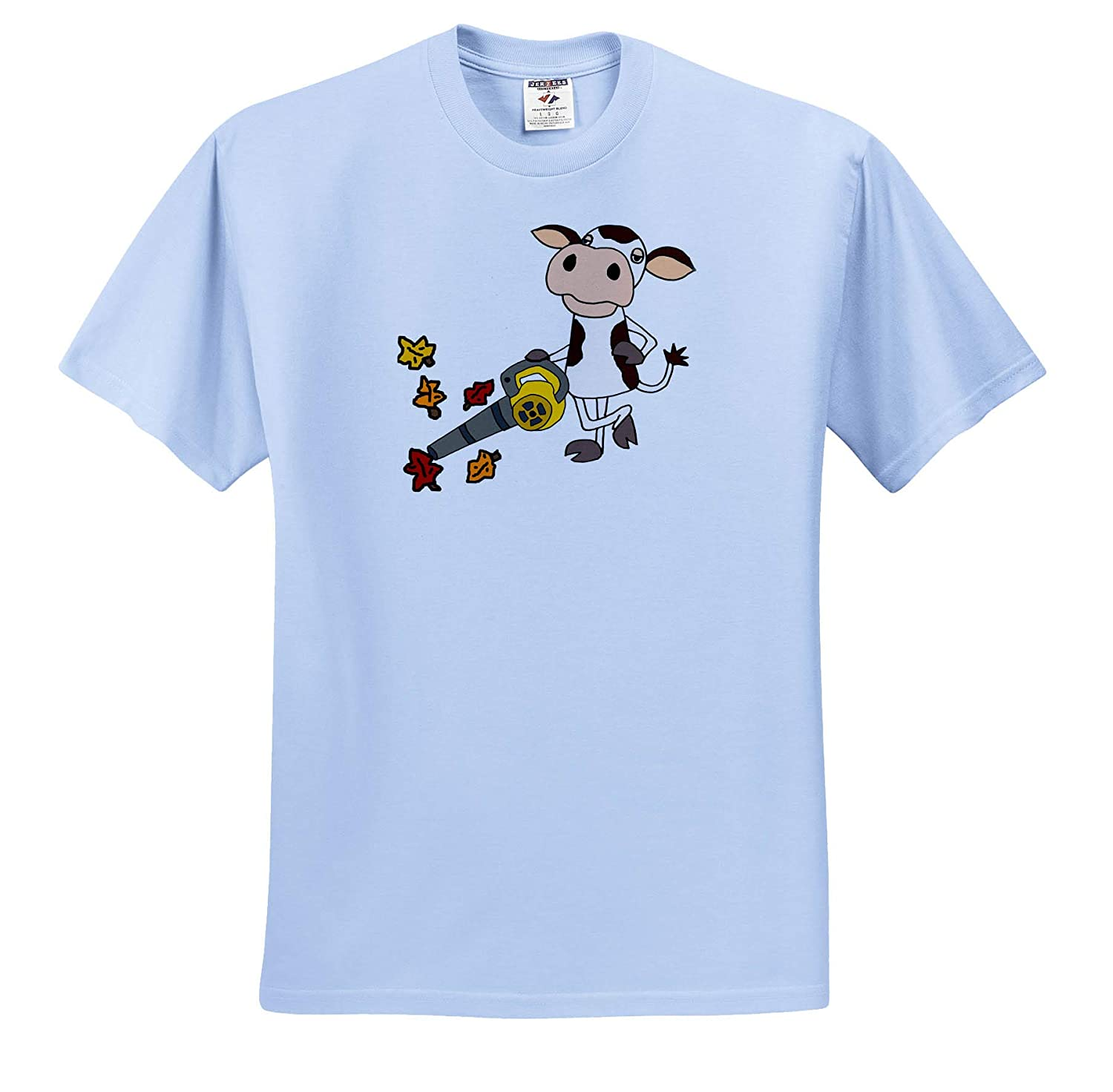 Cute Funny Unique Cow Using Leaf Blower Cartoon Funny T-Shirts 3dRose All Smiles Art