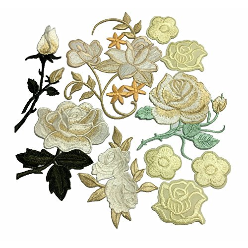 10pcs Assorted Cream Yellow Beautiful Flowers Embroidered Iron on Applique (Patch Flowers Cream)