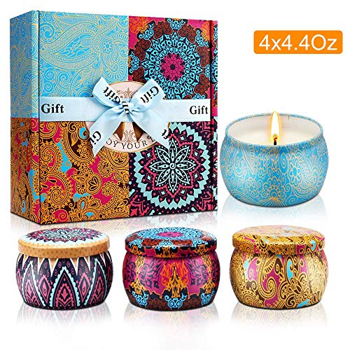 Scented Candles Gift Sets, Natural Soy Wax with Floral Essential Oil Travel Tin Candles Use for Aromatherapy Stress Relax, Great Gift for Woman, Home Decor, Yoga Meditation Reiki, Pack 4