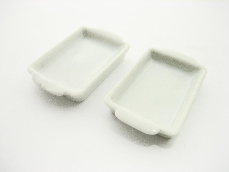 2ホワイトBaking Pan /トレイ20 x 30 mmドールハウスミニチュアセラミック供給 – 10884   B00L4TB1IG