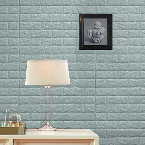 Efavormart 10 PCS 58 Sq.Ft Baby Blue Self-Adhesive Wall Panels 3D Faux Waterproof Foam Bricks Peel and Stick Foam Wall Home Decor