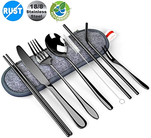 Black Travel Utensils Sunhanny Reusable Utensils with Case Dish Cloth Metal Straws Portable Silverware Including Outdoor Multi-Tool Travel Camping Cutlery Set Stainless Steel Flatware Set