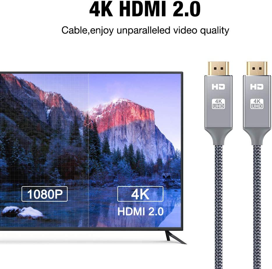 4K HDMI Cable 6.6 ft,Capshi High Speed 18Gbps HDMI 2.0 Cable,4K, 3D, 2160P, 1080P, Ethernet - 28AWG Braided HDMI Cord - Audio Return(ARC) Compatible UHD TV, Blu-ray, PS4, PS3, PC: Electronics