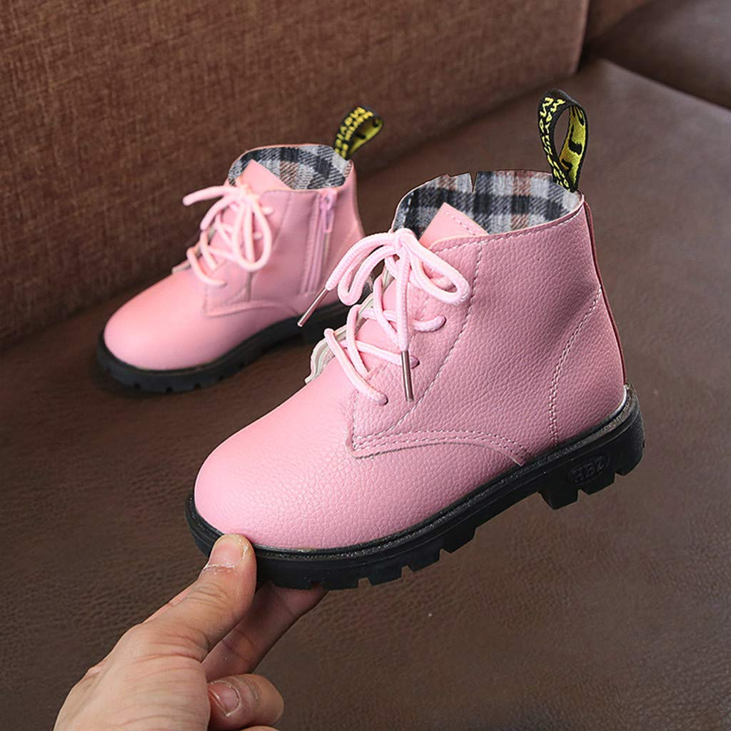 Lurryly❤2019 Snow Boots Warm Casual Shoes Fashion Winter Boys Girls Lace Up Anti-Slip Sneaker 4-12 T