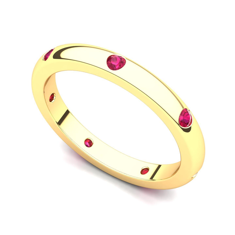 14k Yellow Gold Bezel set Ruby Semi Eternity Band Ring, 6