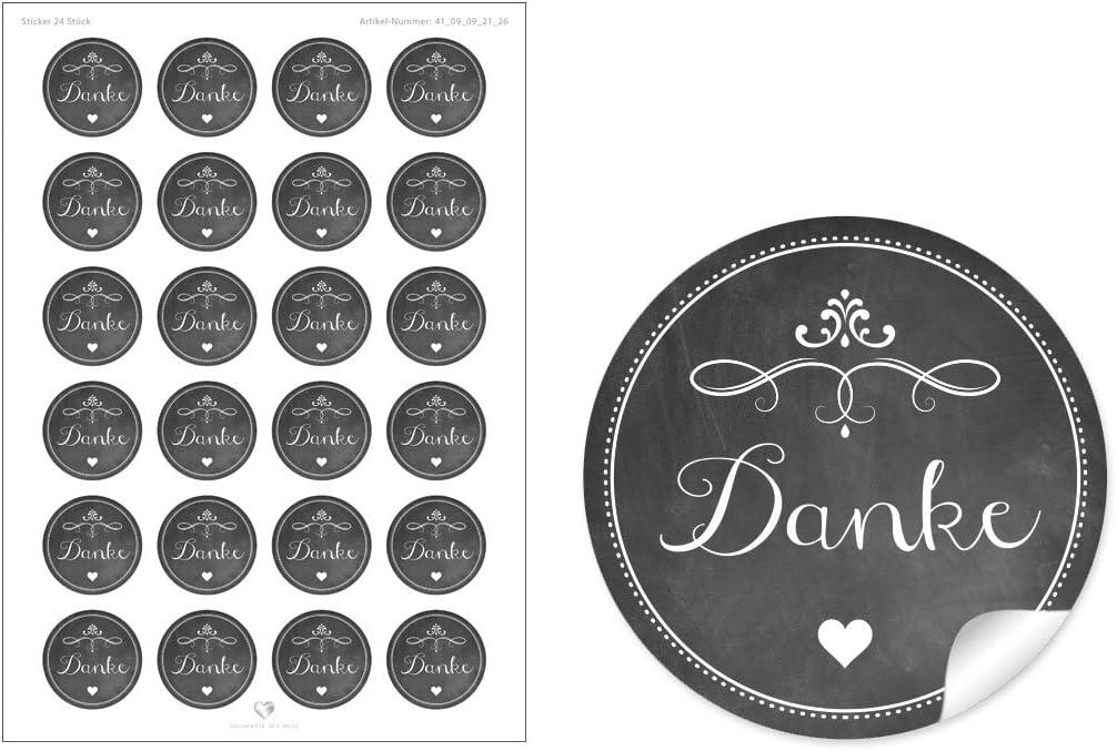 A4 Bogen /• Papieraufkleber Sticker//Aufkleber//Etiketten im Format 4 cm, rund, matt 24 STICKER: 24 Edle Etiketten in Grau mit Herz und OrnamenteDanke