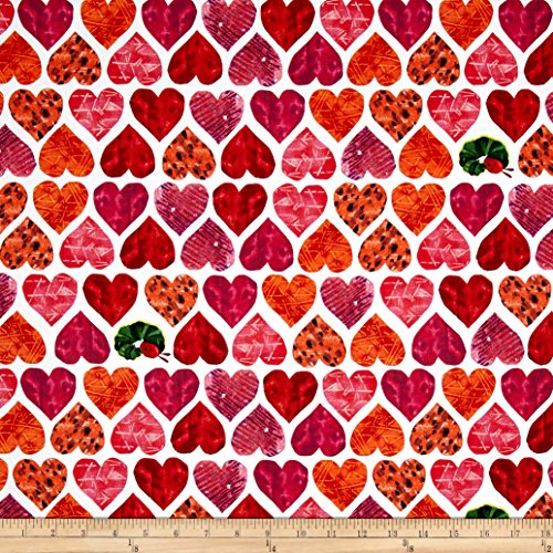 Andover The Very Hungry Caterpillar I Love You Large Hearts Red Fabric by The -