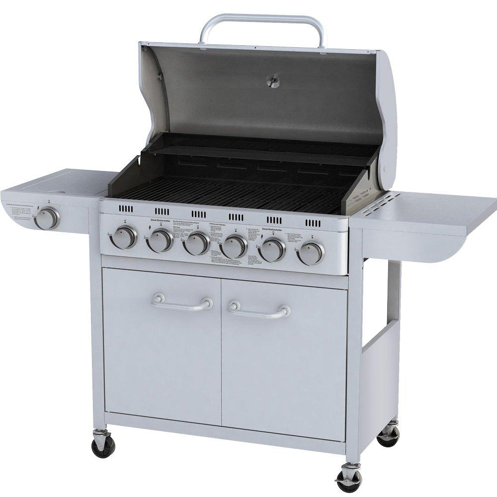 Broil-master® Barbecue a gas, con carrello in acciaio, 6 bruciatori principali + 1 bruciatore laterale, colore  argento