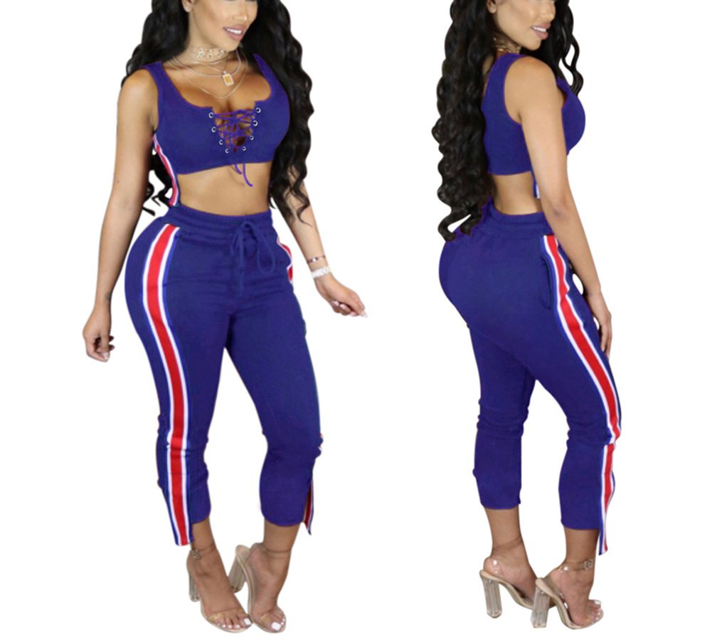 Women's 2 Pieces outfits Lace Up Crop Tank Top+Ankle Pant Sweatsuits Set Tracksuits Medium Blue