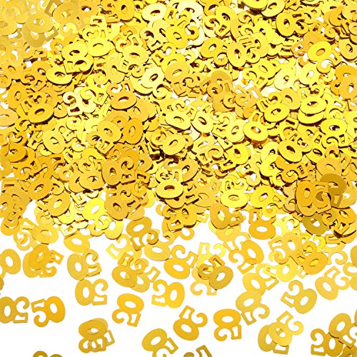 WILLBOND 50th Birthday Confetti 50 Number Confetti 50th Party Confetti for Party Supplies (Gold, 4200 Pieces)