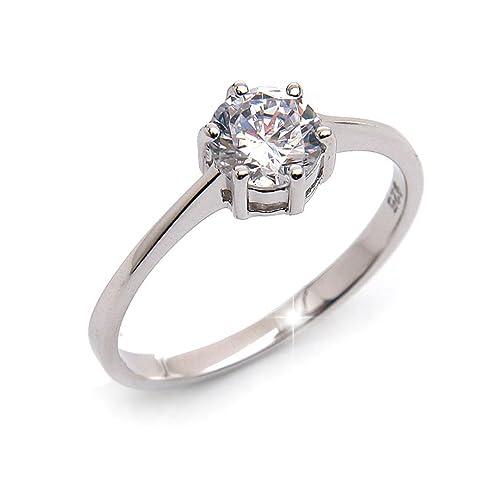 Silvity Damen 925 Silber Verlobungsring Ring Silber 111111 20
