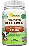 Grass Fed Beef Liver (Desiccated) - 180 Capsules - Argentine Pasture-Raised Beef Liver Pills - 3000mg Supplement Powder Per Serving - Natural Iron, B12, Vitamin A for Energy - Non-GMO