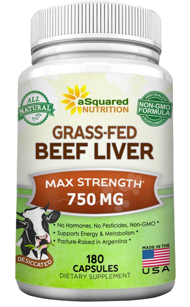 Grass Fed Beef Liver (Desiccated) - 180 Capsules - Argentine Pasture-Raised Beef Liver Pills - 3000mg Supplement Powder Per Serving - Natural Iron, B12, Vitamin A for Energy - Non-GMO by aSquared Nutrition