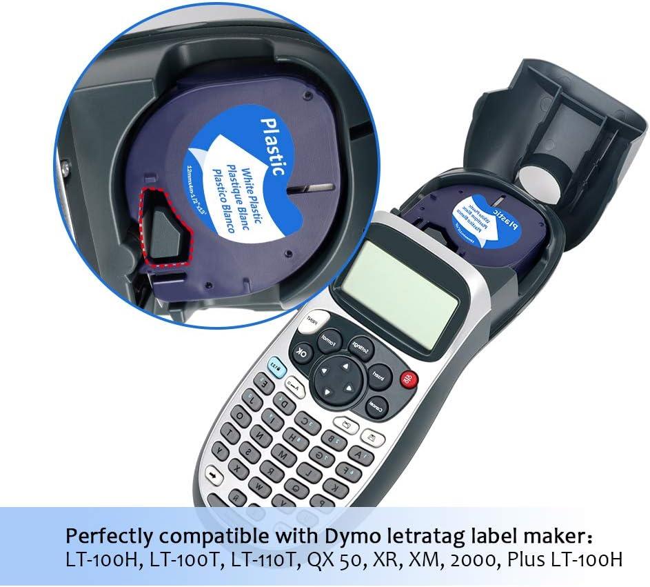 5x Dymo Cinta de Papel 91200 S0721510 Pl/ástico 91201 S0721610 12mm x 4m Negro sobre Blanco//La flor//La nube,Cinta Etiquetas Compatible Dymo LetraTag Maquina para Etiquetas LT-100H 2000 LT-100T XR