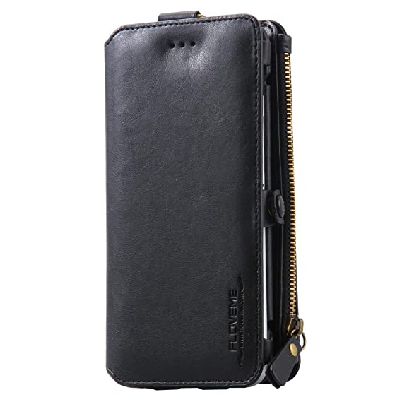 SANFASHION Classic 2in1 Business Leather Card Slot Wallet Case Zipper Cover For IPhone 7 4.7 Protector (Black): Amazon.co.uk: Electronics