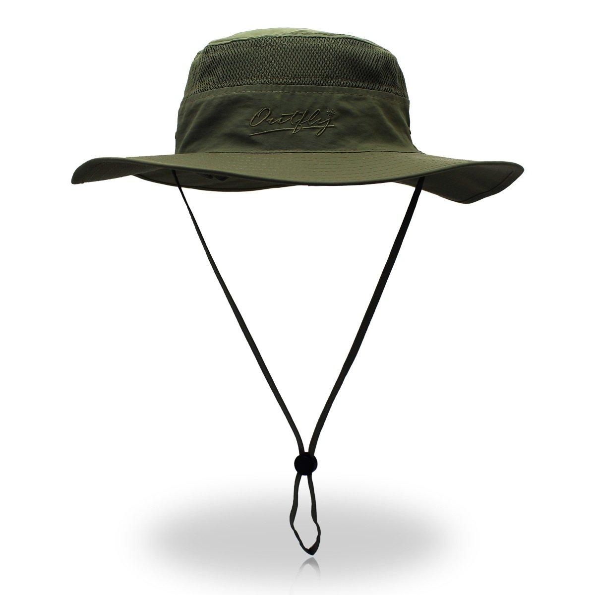 duakrsユニセックスWide Brim Sun Hat、アウトドアUPF 50 +防水Boonie帽子夏UV保護太陽キャップ B07C4VPKX9 アーミーグリーン アーミーグリーン