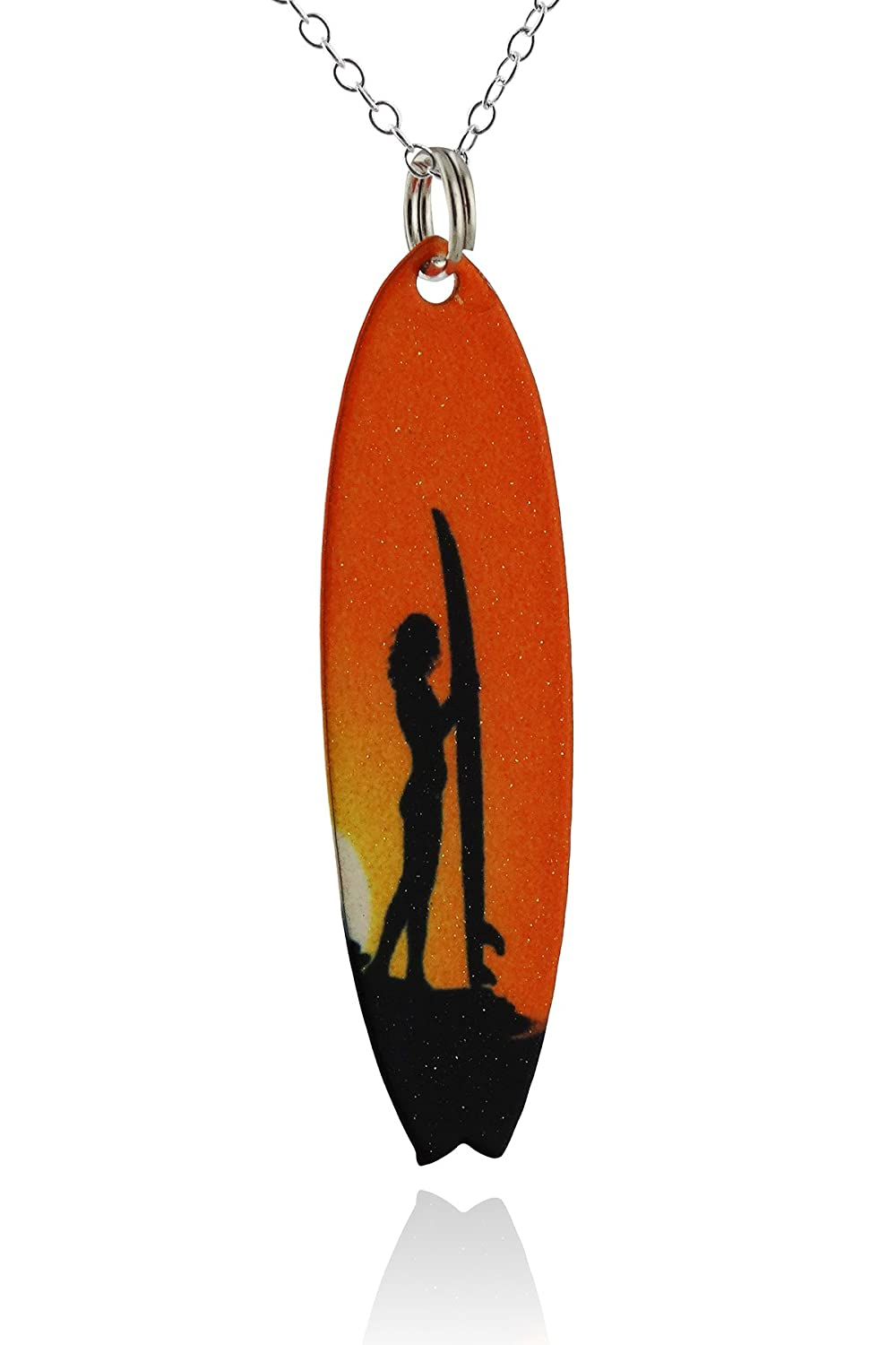 Pintado latón tabla de surf colgante collar, Hawaiian Sunset Surfer cadena de plata de ley 45 cm: Amazon.es: Joyería